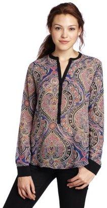 Eight Sixty Women's Paisley Print Shiffon Long Sleeve Button Blouse
