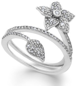 Macy's Diamond Wrap-Around Flower Ring in Sterling Silver (1/2 ct. t.w.)