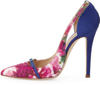 Oscar de la Renta Pointed-Toe Pump, Floral/Blue