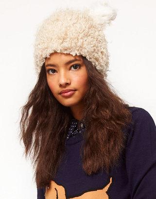 Asos Faux Fluffy Shearling Ears Hat