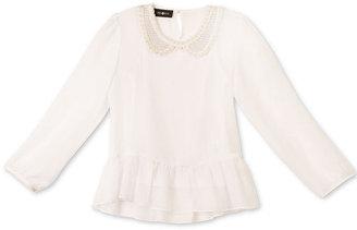 Amy Byer BCX Kids Shirt, Girls Sheer Peasant Blouse