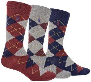 Polo Ralph Lauren Ralph Lauren Men's Socks, Dress Argyle Crew 3 Pack Socks