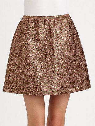 RED Valentino Brocade Pleated Skirt