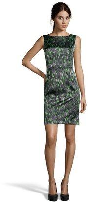 Tahari green and grey printed 'Ketrina' woven shift dress