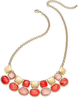 Charter Club Gold-Tone Pink Stone Frontal Necklace