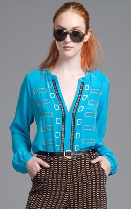 Tracy Reese Block Embroidered Shirt