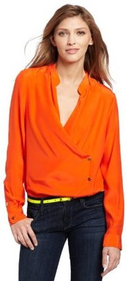 7 For All Mankind Women's The Cross Over Placket Blouse