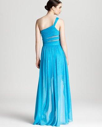 Aqua One Shoulder Gown - Mesh Cutouts Hi Low