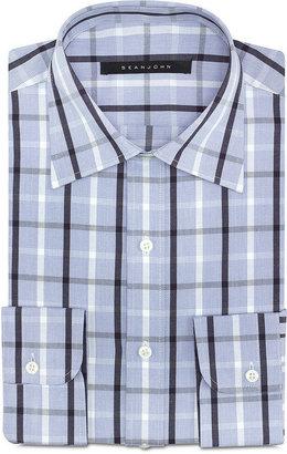 Sean John Big and Tall Multi-Blue Plaid Dress Shirt