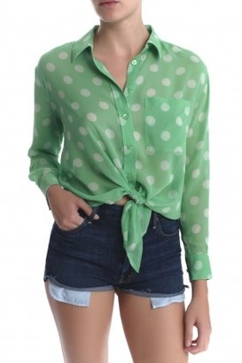 Equipment Daddy Button Down Blouse Green