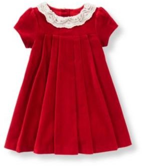 Janie and Jack Lace Collar Velveteen Dress