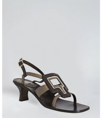 Marc Jacobs chocolate leather cut-out square toe slingback sandals