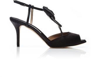 Oscar de la Renta Brandi Glitter-Trimmed Satin Sandals Black