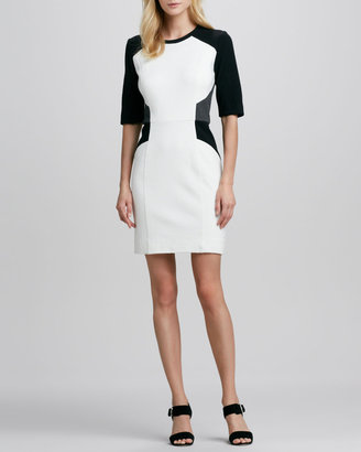 Milly Colorblocked Half-Sleeve Sheath Dress