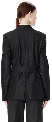 Alexander Wang Pinstripe Robe Blazer With Belt