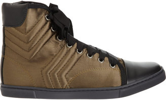 Lanvin Quilted Satin Cap Toe High Top