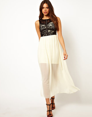 TFNC Maxi Dress with Contrast Lace Top