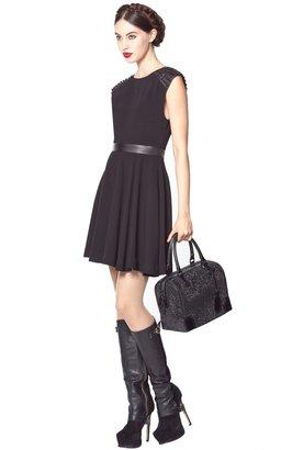 Alice + Olivia Kerry Studded Cap Sleeve Mini Dress With Leather