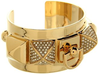Juicy Couture Heavy Metal Pyramid Metal Cuff Bracelet (Gold) - Jewelry