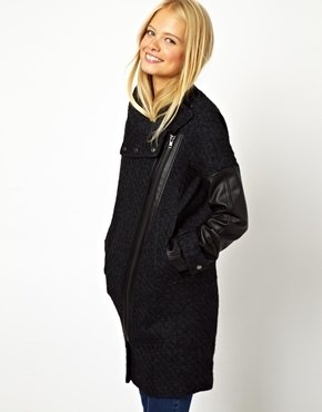 Asos Biker Coat With Funnel Neck And PU Sleeves - Navy