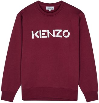 Kenzo Dark Red Logo-print Cotton Sweatshirt