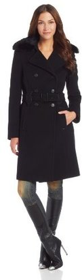 Marc New York Women's Heather Wool Cashmere Double Breasted Coat