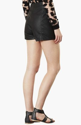 Topshop 'Lola' High Waist Faux Leather Shorts