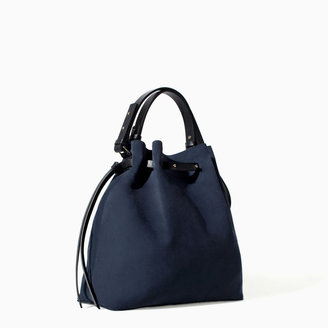 Zara Coloured Leather And Suede Bucket Bag