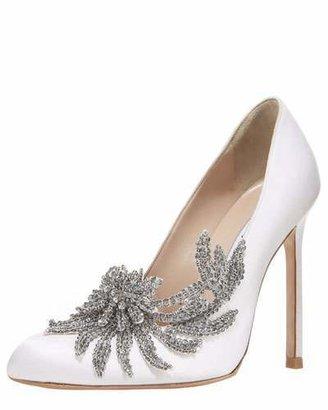 Manolo Blahnik Swan Embellished Satin Pump, White $1,295 thestylecure.com