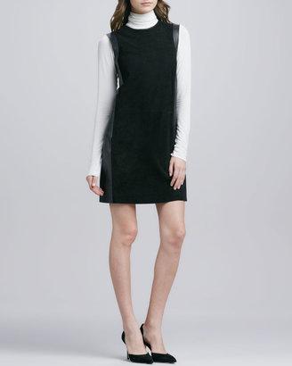 Vince Leather-Framed Suede Dress, Black