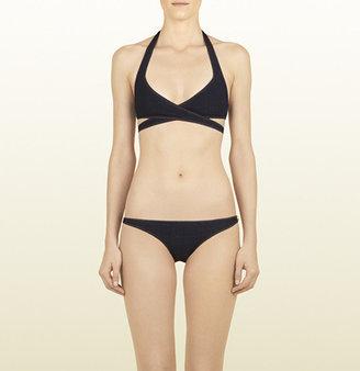 Gucci Blue Denim Cross-Strap Bikini