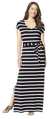 Merona Petites Short-Sleeve V-Neck Maxi Dress - Black/Cream