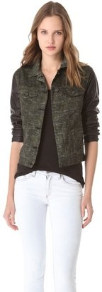 Rag and Bone The Camo Jean Jacket with Leather Sleeves
