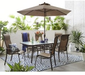 """Furniture Oasis Outdoor Aluminum 7-Pc. Dining Set (84"""" x 42"""" Dining Table and 6 Dining Chairs), Created for Macy's"""