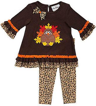 Rare Editions 12-24 Months Thanksgiving Turkey-Appliqued Dress & Cheetah-Print Leggings Set