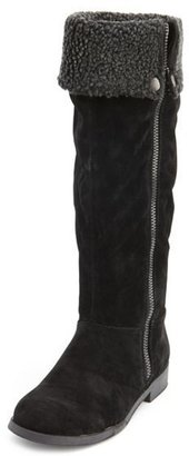 Charlotte Russe Sueded Sherpa-Trim Convertible Boot
