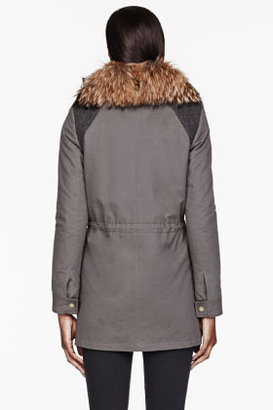 Yves Salomon ARMY BY Olive drab fur-lined Layered Slim Parka
