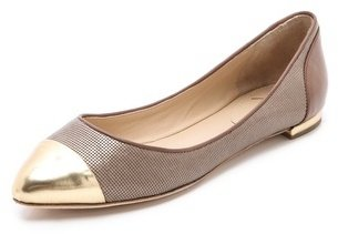 Brian Atwood Avignon Ballet Flats with Cap Toe