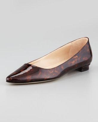 Manolo Blahnik Titto Pointed-Toe Ballerina Flat, Brown