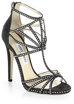Jimmy Choo Vendetta Crystal-Coated Suede Cage Sandals