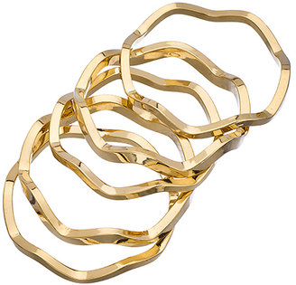 A.V. Max Set of Five Gold Zig Zag Rings