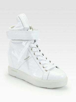 Prada Patent Leather High Top Wedge Sneakers
