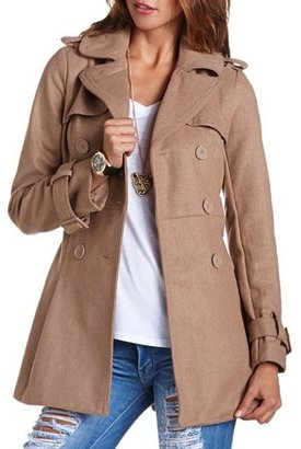 Charlotte Russe Pleated Back Belted Peacoat