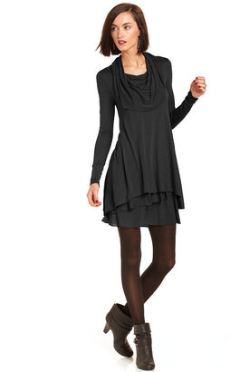 kensie Long-Sleeve Cowl-Neck T-Shirt Dress $78 thestylecure.com