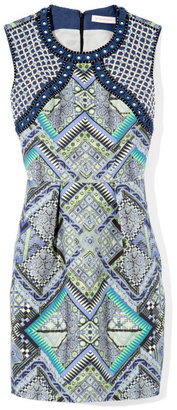 Matthew Williamson Raj Leather Embroidered Structured Shift