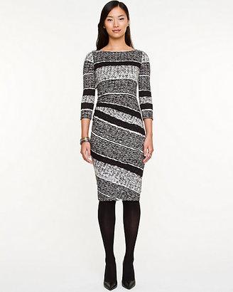Le Château Stripe Ruched Midi Dress