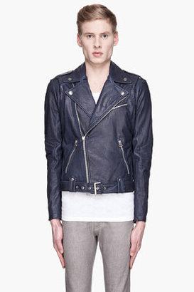 Balmain PIERRE Navy Blue buffed Leather Heavy biker Jacket
