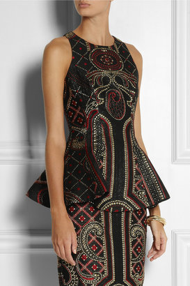 Prabal Gurung Metallic brocade peplum top