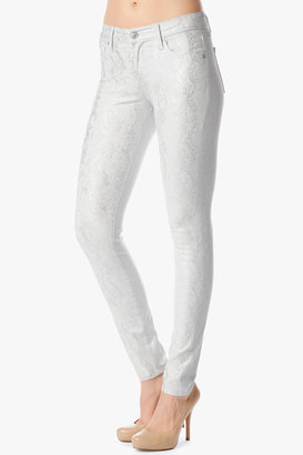 7 For All Mankind The Skinny In White With Silver Jacquard Snake