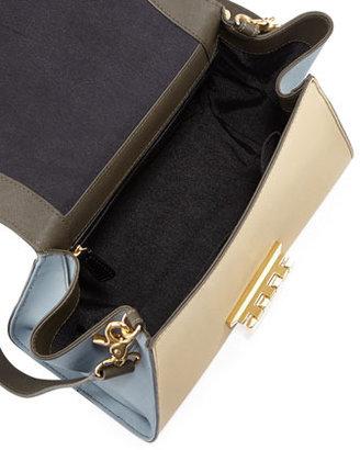 Zac Posen Eartha Colorblock Long-Flap Satchel Bag, Mushroom